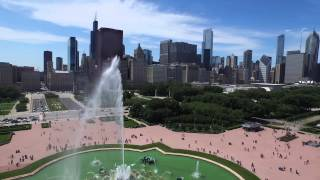 4K Drone Chicago Lake Front and Buckingham Fountain