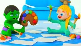 SUPERHERO BABIES DO HOME ACTIVITIES ❤ Spiderman, Hulk & Frozen Elsa Play Doh Cartoons For Kids