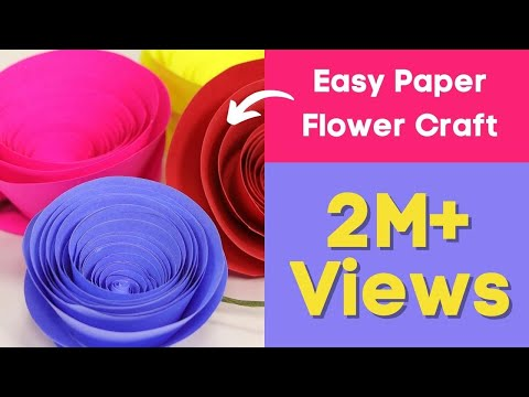 Rolled Paper Rose Flower: Easy Paper Flower Craft Setp by Step Tutorial