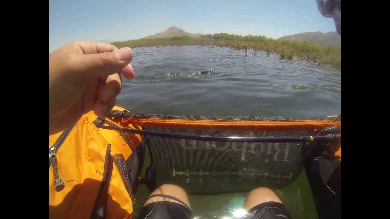 Gopro bass fishing at lake perris in a float tube youtube for Lake perris fishing report