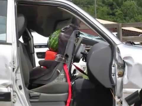 Air bag deployment with car seat - YouTube