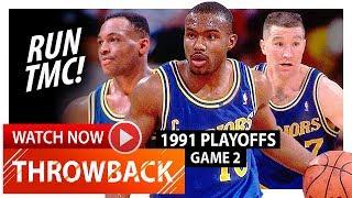Chris Mullin, Tim Hardaway & Mitch Richmond Game 2 Highlights vs Lakers 1991 Playoffs - RUN TMC!