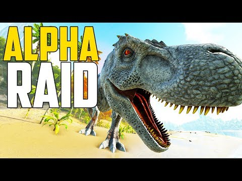 RAIDING WITH ALPHA T-REX! - Ark Survival Evolved (Ark: The Volcano PVP #9)