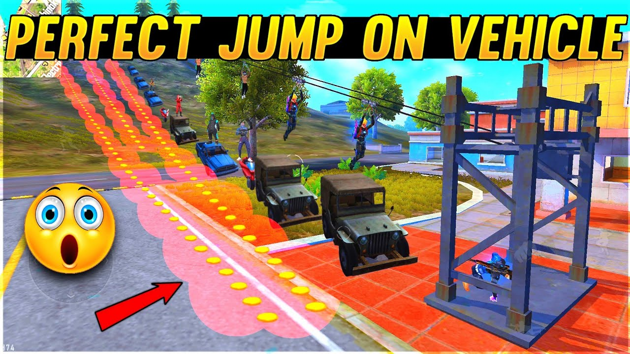 Free Fire Funny Game Perfect Jump On Vehicle - Zipline vs Vehicle - Garena Free Fire