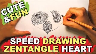 Speed drawing heart designs - how to draw stylish black zentangle pattern heart