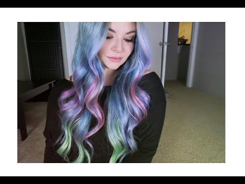 Dying My Hair   Unicorn Hair   Sand Art Hair   Silver Pink and Green