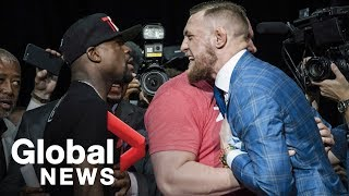 Floyd Mayweather vs. Conor McGregor Toronto press conference showdown