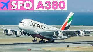 AIRBUS A380 Runway Action at San Francisco Airport