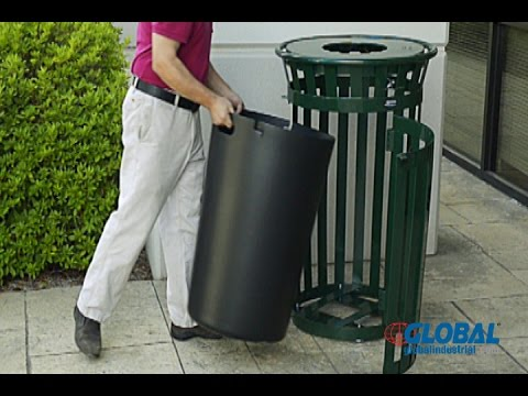 Global Industrial Slatted Metal Waste Cans With Access Door