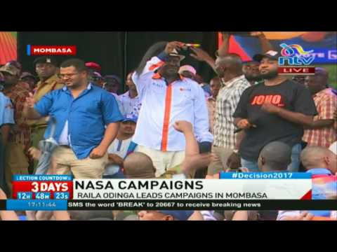Raila Odinga shouted down by crowd in Mombasa during Nasa rally