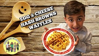 KIDS IN THE KITCHEN | EGG & CHEESE HASH BROWN WAFFLES | PHILLIPS FamBam Cook with ME