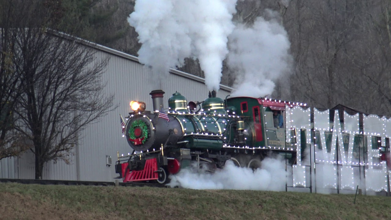 Tweetsie Christmas.The First Tweetsie Christmas Train Ever Rolling In A View From The Parking Lot In 4k