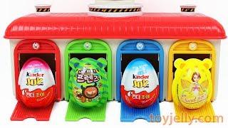 Learn Colors Tayo the Little Bus Station Super Kinder Joy Surprise Egg Disney Toys Peppa Pig