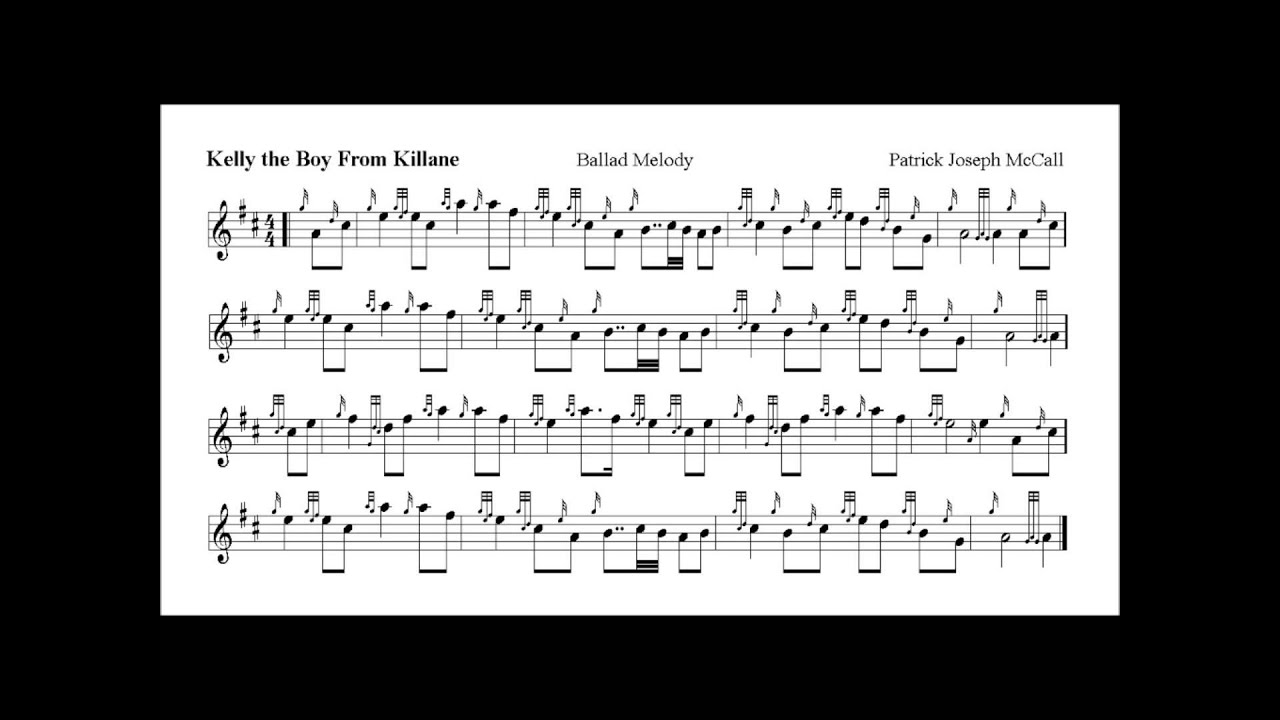KELLY THE BOY FROM KILLANE by Patrick Joseph McCall bagpipe setting