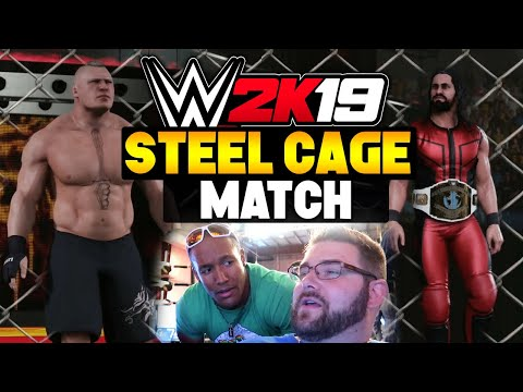 WWE 2K19 Gameplay - Seth Rollins Vs Brock Lesnar Steel Cage Match (WWE 2K19 Xbox One X)