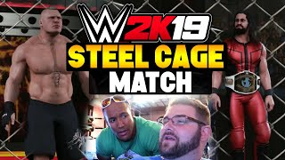 WWE 2K19 Gameplay - Seth Rollins vs Brock Lesnar Steel Cage Match (WWE 2K19 Xbox One X)