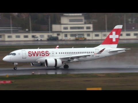 WATER RUNWAY LANDING Swiss Bombardier CS100 HB-JBE at Berlin Tegel Airport