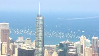 F-22 Raptor and Blue Angels Fly Between Buildings Viewed From 99th Floor Willis Tower