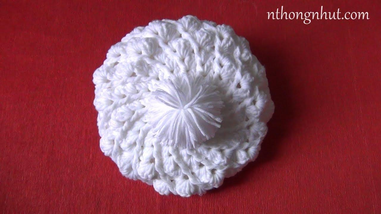 Crochet beret hat tutorial (Eng sub) I Hướng dẫn móc nón bánh tiêu hoa văn con sò
