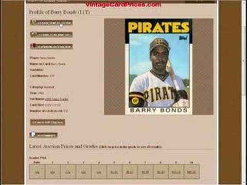Barry Bonds Baseball Card Value