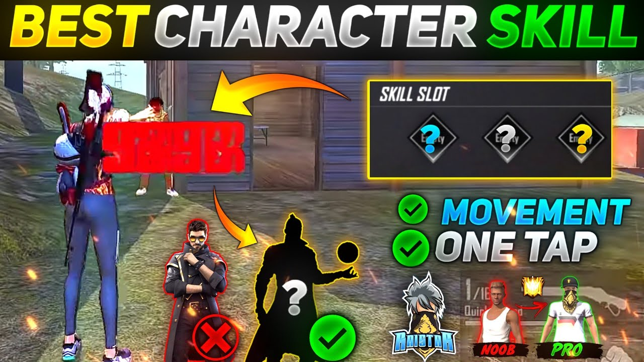 Free Fire Best Character Skill Combination | Rank & Custom | OneTap + Movement Character Combination