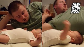 Baby projectile vomits in dad's face | New York Post