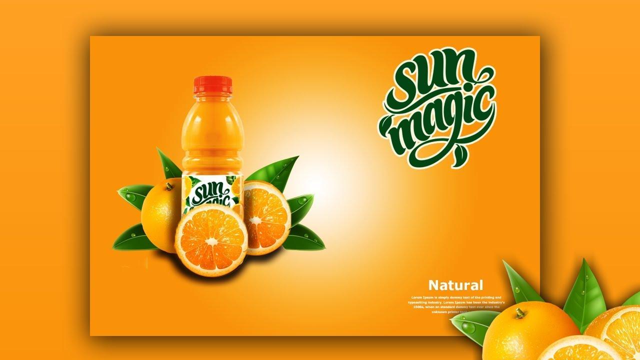 كيفية تصميم فوتوشوب إعلان منتج عصير برتقال 2 Youtube
