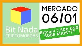 Mercado de Cripto! 06/01 Bitcoin 7.500 USD Sobe mais? / Lighning Network / Google Trends / Liberdade