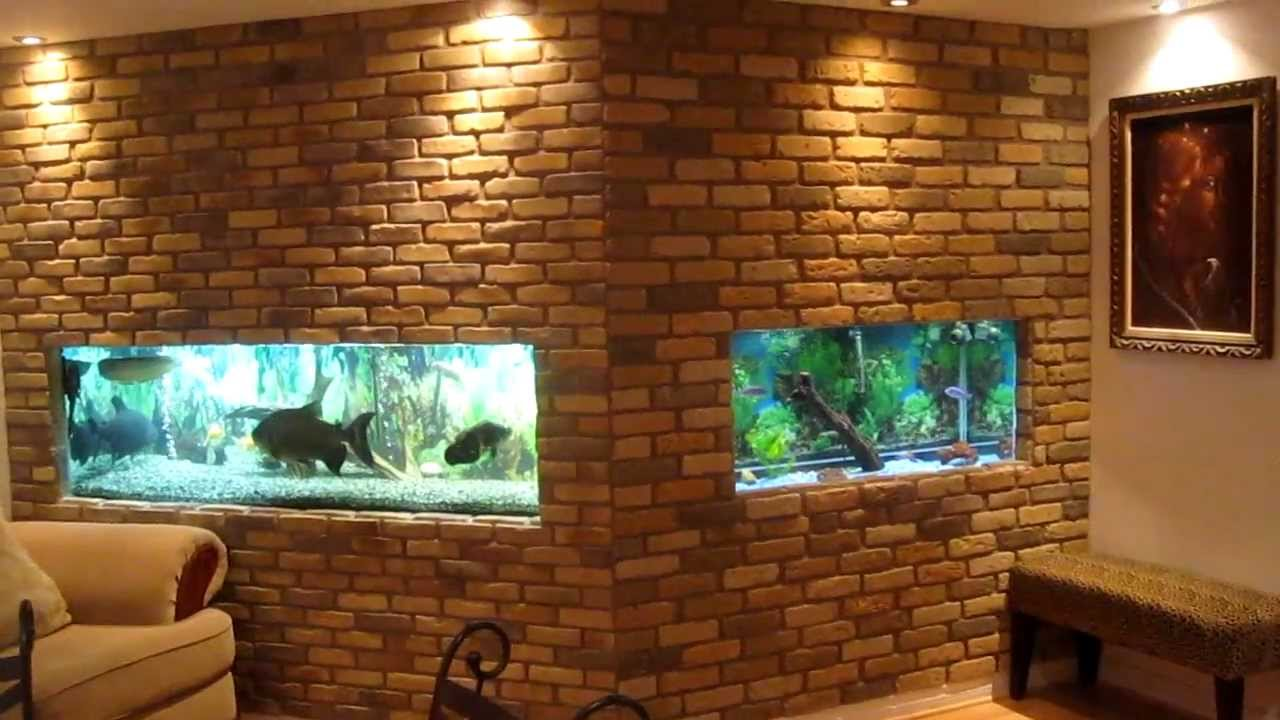 2 in wall fish tanks behind the scene youtube for Fish tank built into wall