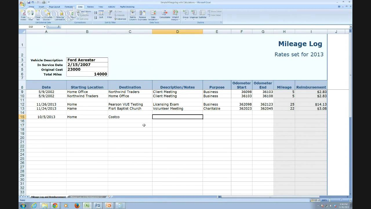 IRS Compliant Mileage Log Tutorial - YouTube