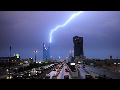 امطار غزيرة على مدينة الرياض السعودية 2021