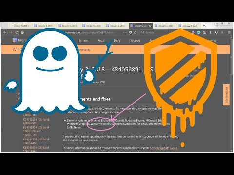 Microsoft Intel CPU Vulnerability Patches with Links | Meltdown | Spectre info | Hotfixes