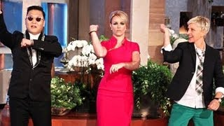 "Britney Spears Dances ""Gangnam Style"" with Psy on Ellen Show"