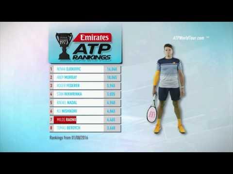 Emirates ATP Rankings 1 August 2016