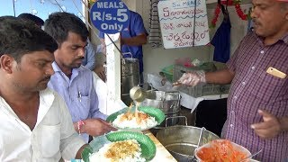 World's Cheapest Street Lunch | Rice Dal & Halwa @ 5 Rs | 100 Plates Finished an Hour
