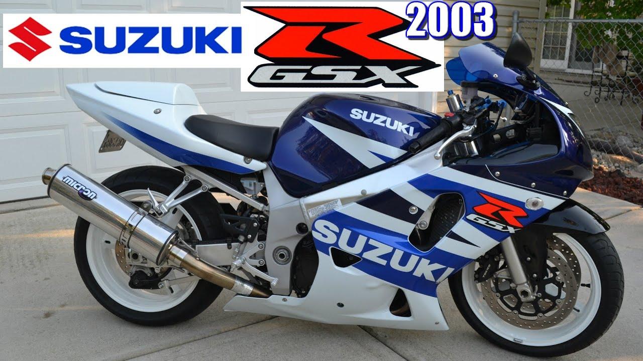 2003 Suzuki GSXR 600 White & Blue Motorcyce Idle + Reving ...