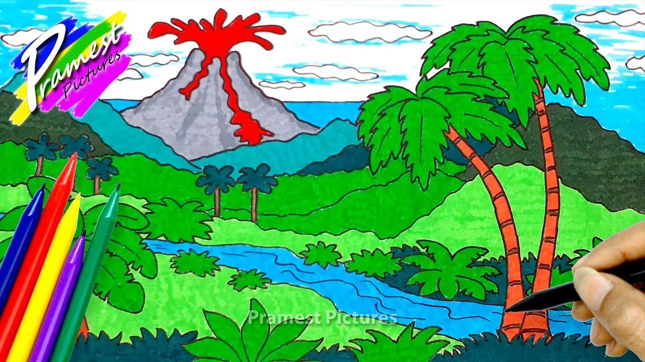 Gunung Meletus   Cara Menggambar dan Mewarnai Pemandangan - YouTube