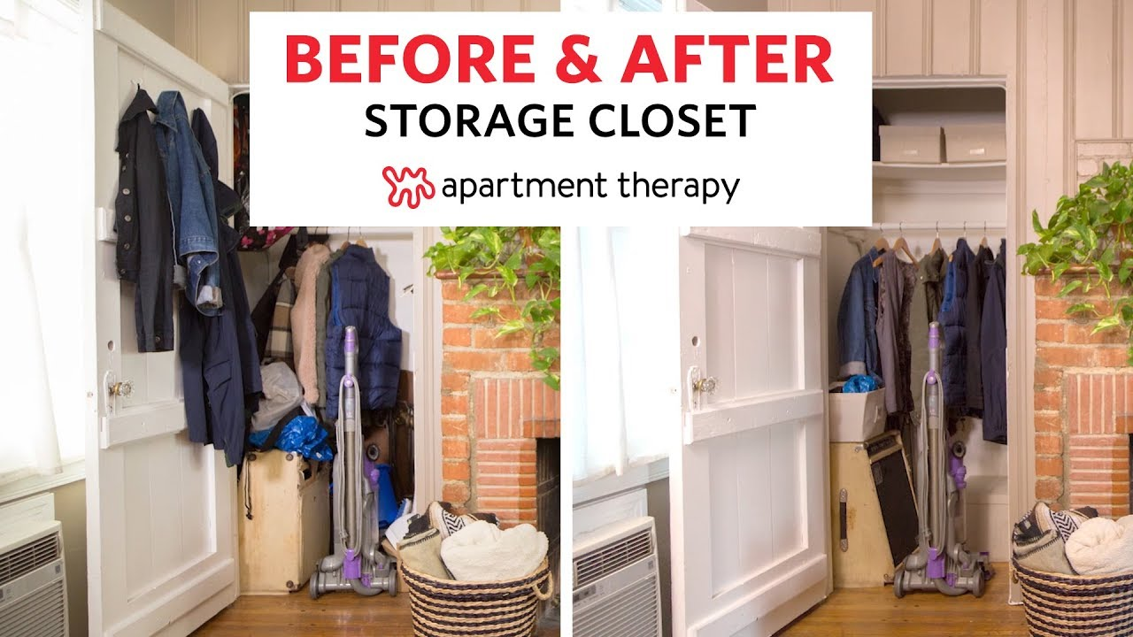 Organizing A Storage Closet Before After Apartment Therapy