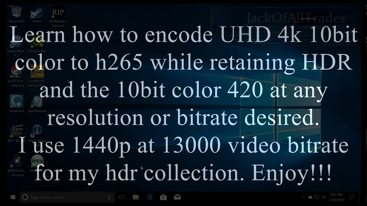 UHD4K 10 bit HDR to 1440p-2k or 1080p hdr 10bit color