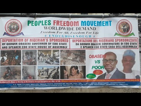 ITALIAN PARLIAMENT PROTEST AGAINST GOVERNOR GODWIN OBASEKI APC ILLEGAL DEPORTATION SUMMIT OF NIGERIA