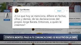 Cynthya Montes pago a FX Comunicaciones se registró en la ONPE