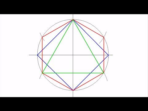 Dibujar Un Cuadrado Un Hexagono Y Un Triangulo Regulares Inscritos En Una Circunferencia Youtube