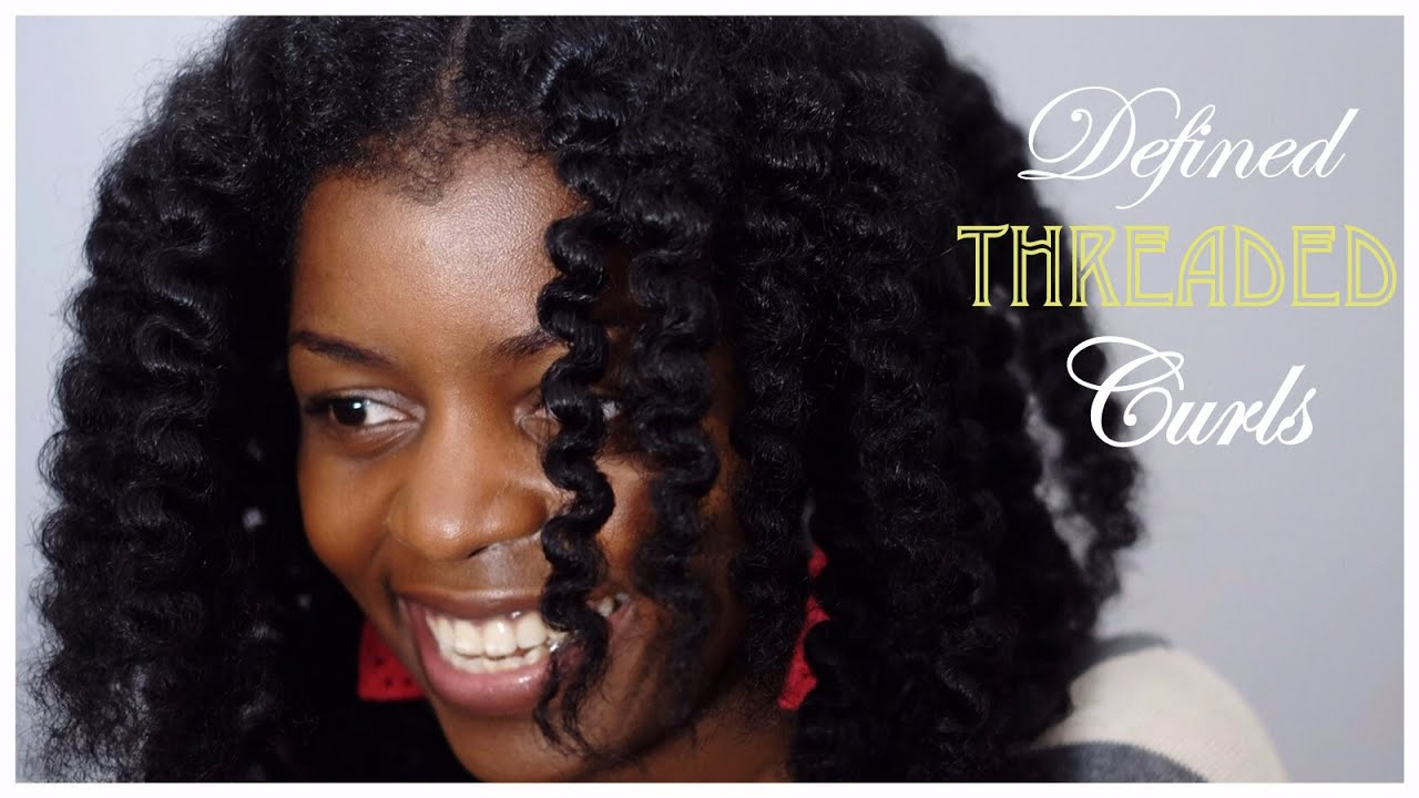 hair style method defined curls using threadding method on 4728