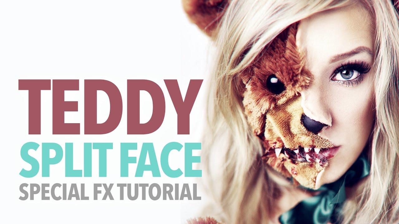 scary teddy bear split face halloween tutorial - youtube
