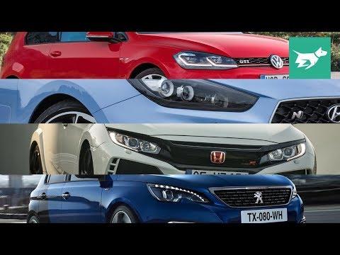 i30 N vs Golf GTI vs Civic Type R vs 308 GTi 2018 hot hatches comparison review