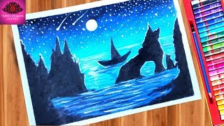 How to draw beautiful moonlight scenery in the ocean with boat step by step