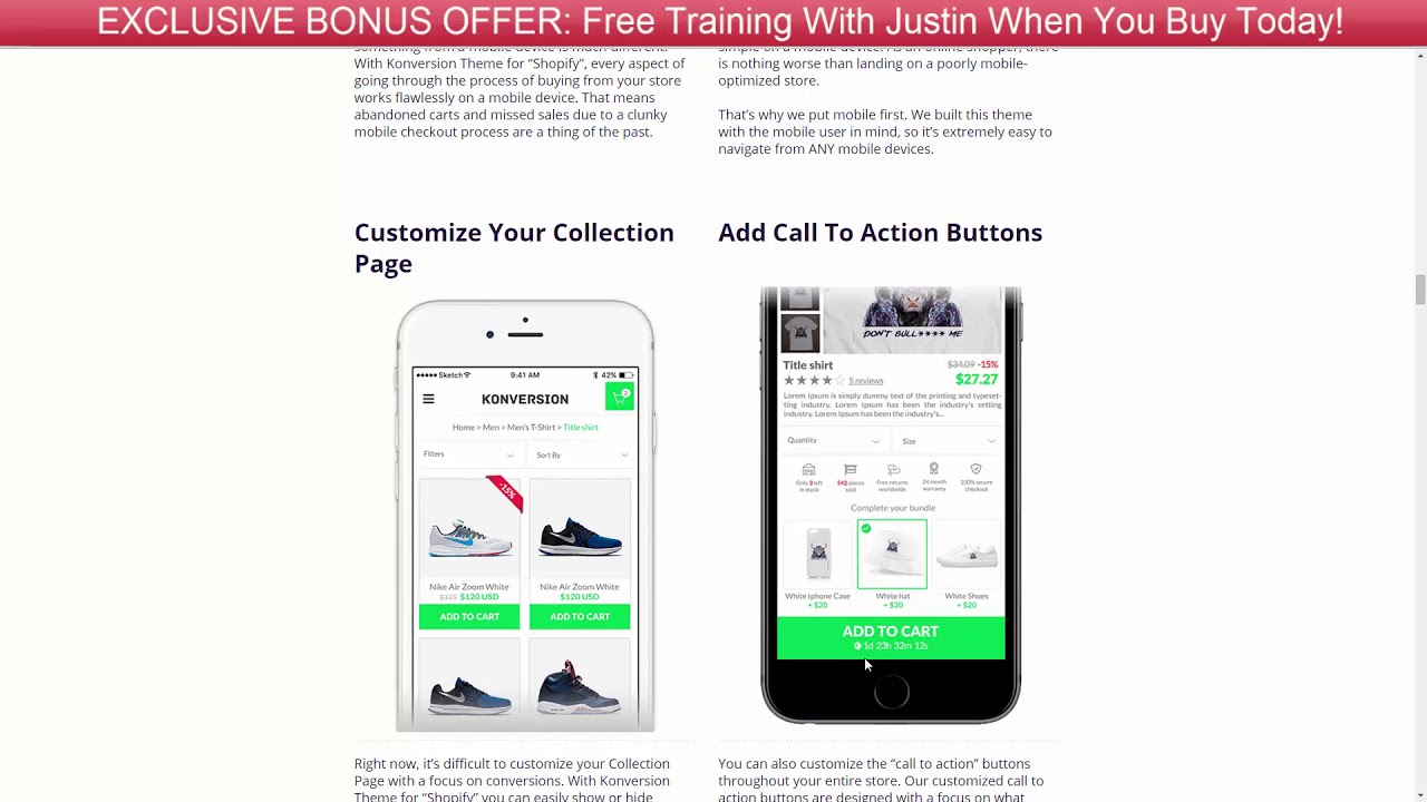 Justin Cener's Konversion Shopify Theme Review + Bonus Offer