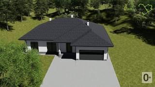 Синдикат E-006. Проект одноэтажного дома с гаражом, террасой, на 4 спальни