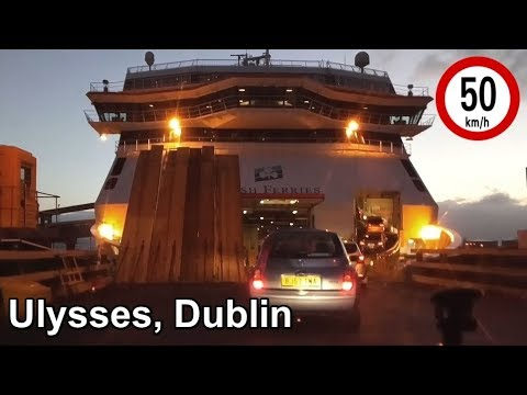 Driving Aboard the Ulysses Ferry at Dublin Port, Ireland