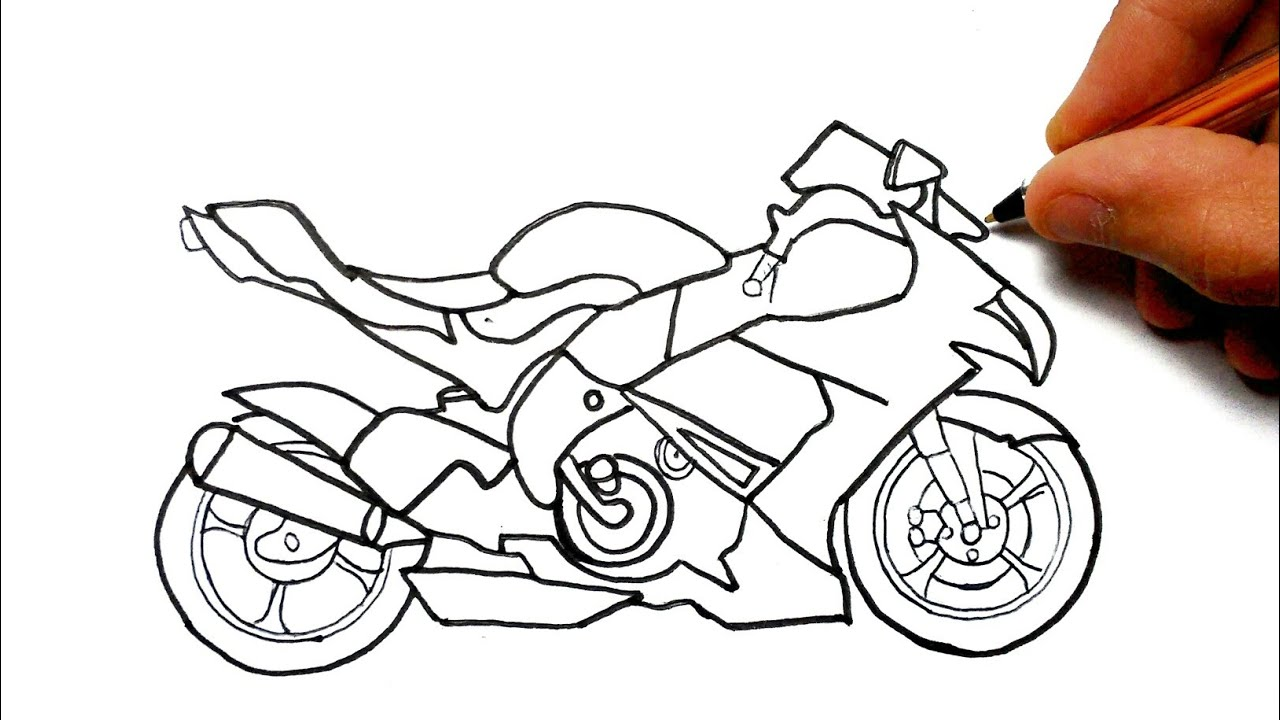 How To Draw A Motorcycle Como Desenhar Uma Moto Youtube